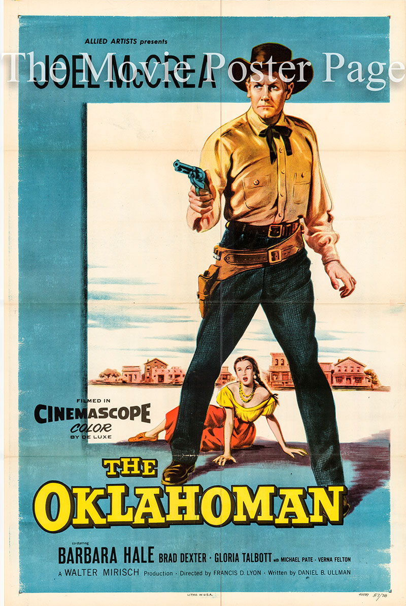 This is a picture of a US one-sheet promotional poster for the 1957 Francis D. Lyon film The Oklahoman, starring Joel McCrea.