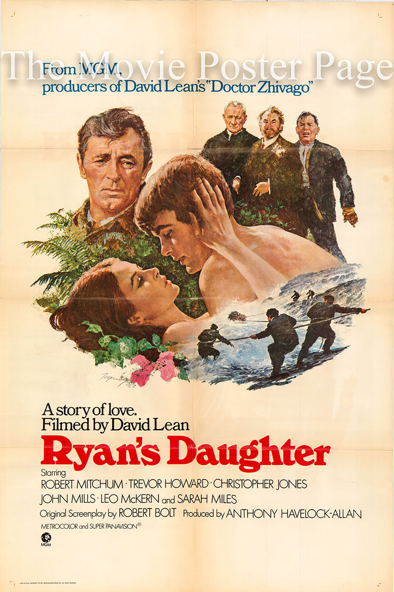 This is an image of a US style A promotional one-sheet poster for the 1970 David Lean film Ryan's Daughter, starring Robert Mitchum.