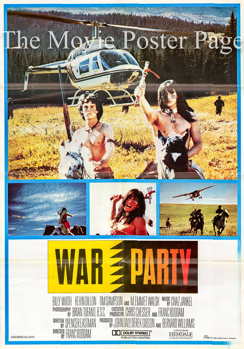 Pictured is a Lebanese promotional poster for the 1988 Franc Roddam film War Party starring Billy Wirth.