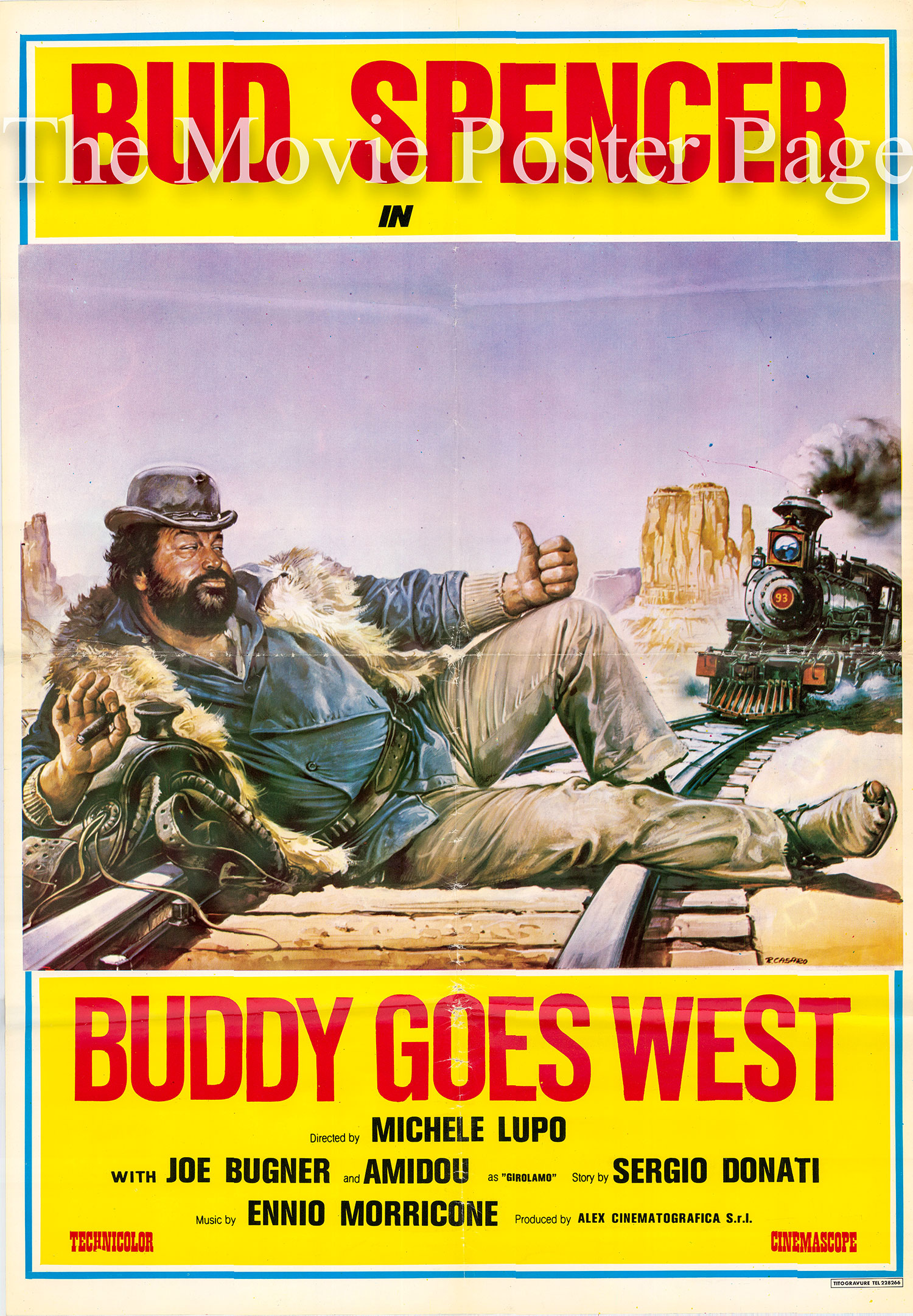 This is an image of sn Italian promotional poster for the 1981 Michele Lupo film Buddy Goes West, starring Bud Spencer.