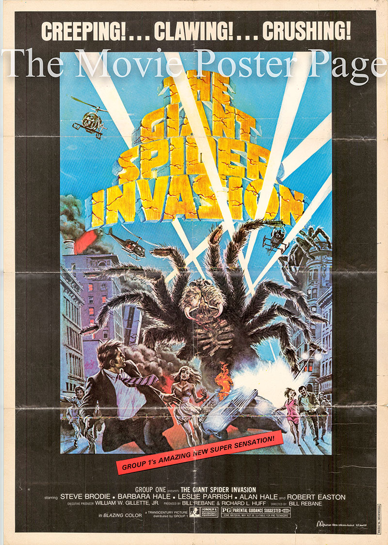 Pictured is a Lebanese promotional poster for the 1975 Bill Rebane film The Giant Spider Invasion starring Steve Brodie.