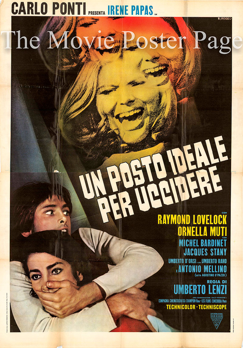 Pictured is an Italian four-sheet poster for the 1971 Umberto Lenzi film Oasis of Fear, starring Irene Papas.