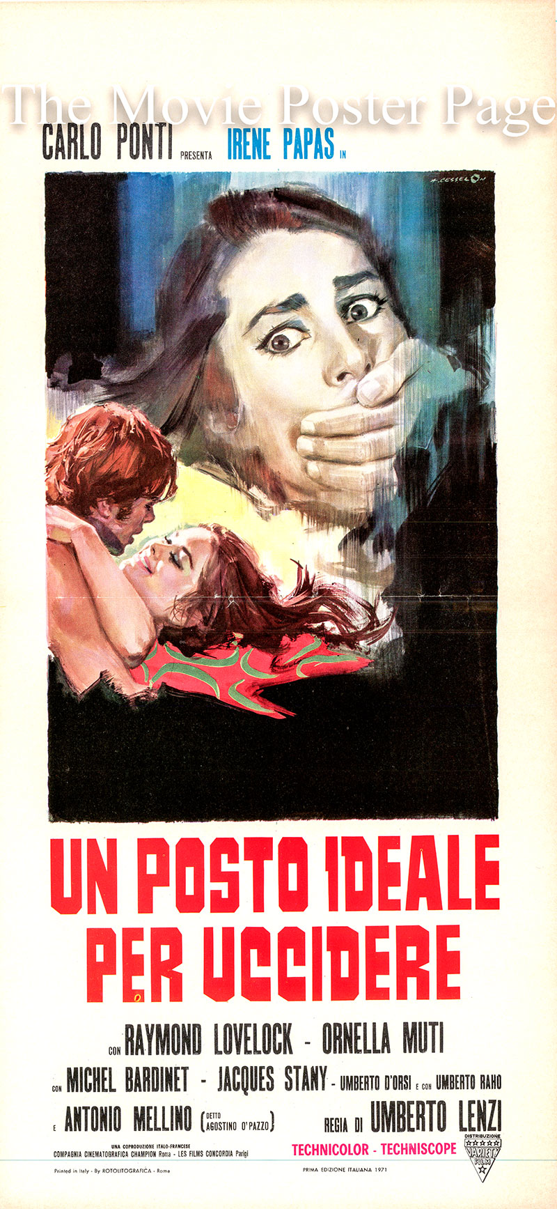 Pictured is an Italian locandina poster for the 1971 Umberto Lenzi film Oasis of Fear, starring Irene Papas.