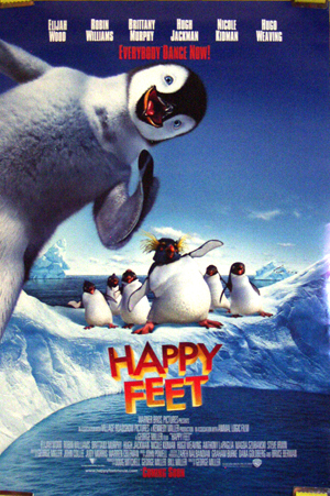 Pictured is the US promotional one-sheet poster for the 2006 George Miller and Warren Coleman film Happy Feet starring Carlos Alazraqui.