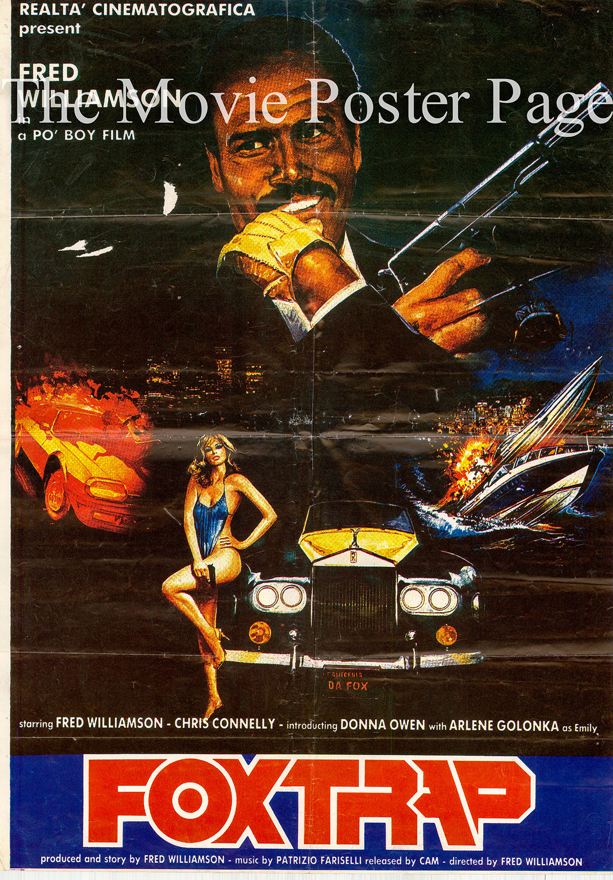 Pictured is a CAM release poster for the 1986 Fred Williamson film Foxtrap starring Fred Williamson.