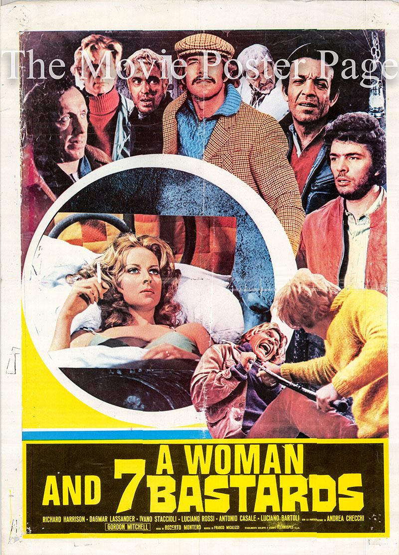 Pictured is an Italian promotional poster for the 1974 Roberto Bianchi Monter film A Woman and Seven Bastards, starring Dagmar Lassander.
