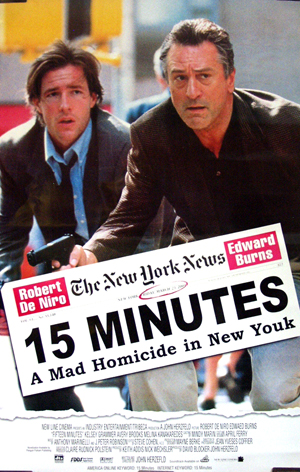 Pictured is a homemade Egyptian one-sheet for the 2001 John Herzfeld film 15 Minutes, starring Robert De Niro and Edward  <a href=