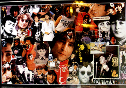 Pictured is a commercial collage John Lennon memorial poster.