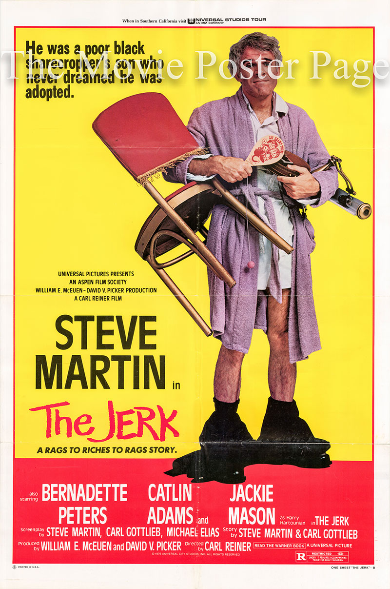 Pictured is the US style B one-sheet promotional poster for the 1979 Carl Reiner film The Jerk starring Steve Martin.