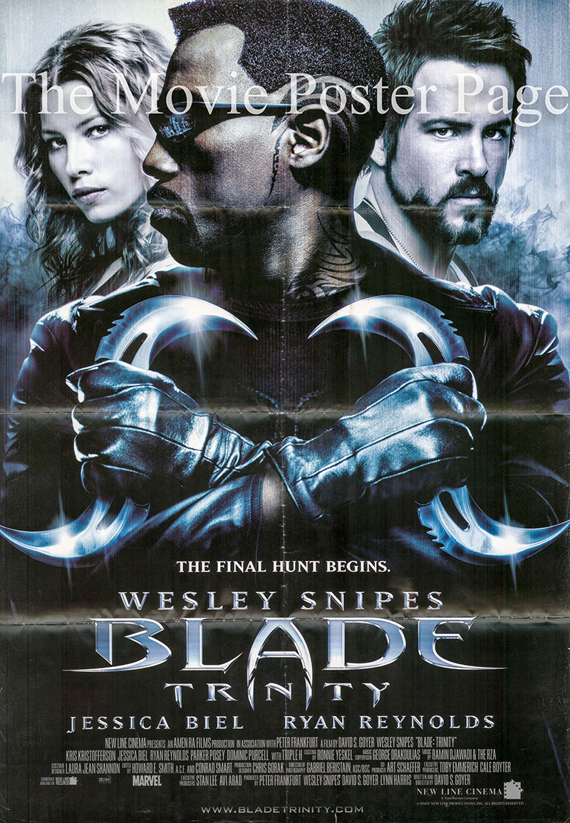 Pictured is a reprint of the US one-sheet poster for the 2004 David S. Goyer film Trinity: Blade, starring Wesley Snipes.
