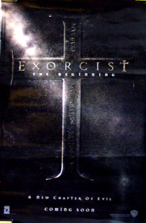 Pictured is the US advance one-sheet promotional poster for the 2004 Renny Harlin film Excorcist: The Beginning, starring Stellan Skarsgard.
