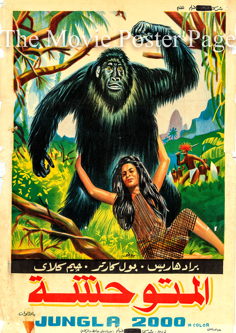 Pictured is the Egyptian promotional poster for the 1968 Roberto Mauri film King of Kong Island starring Brad Harris as Burt Dawson.