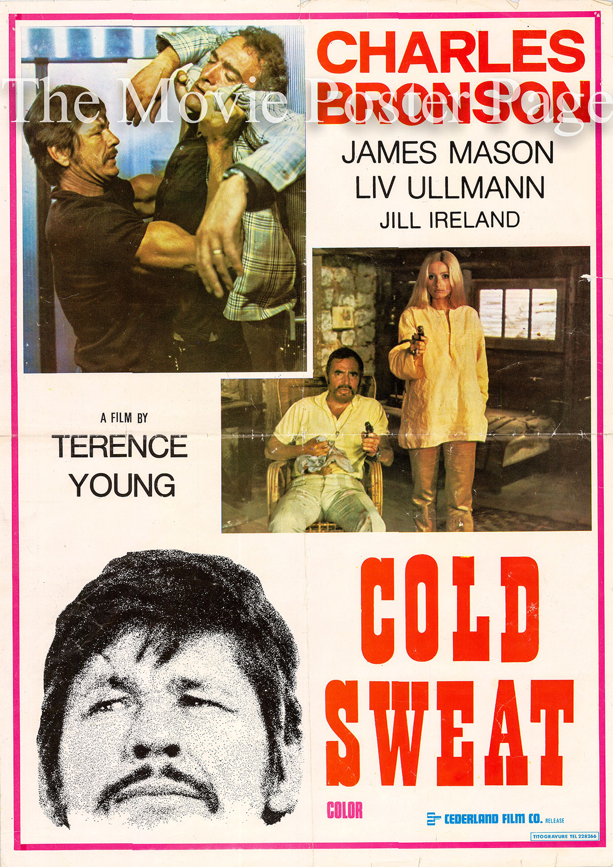 Pictured is an Lebanese promotional poster for the 1970 Terence Young film Cold Sweat, starring Charles Bronson.