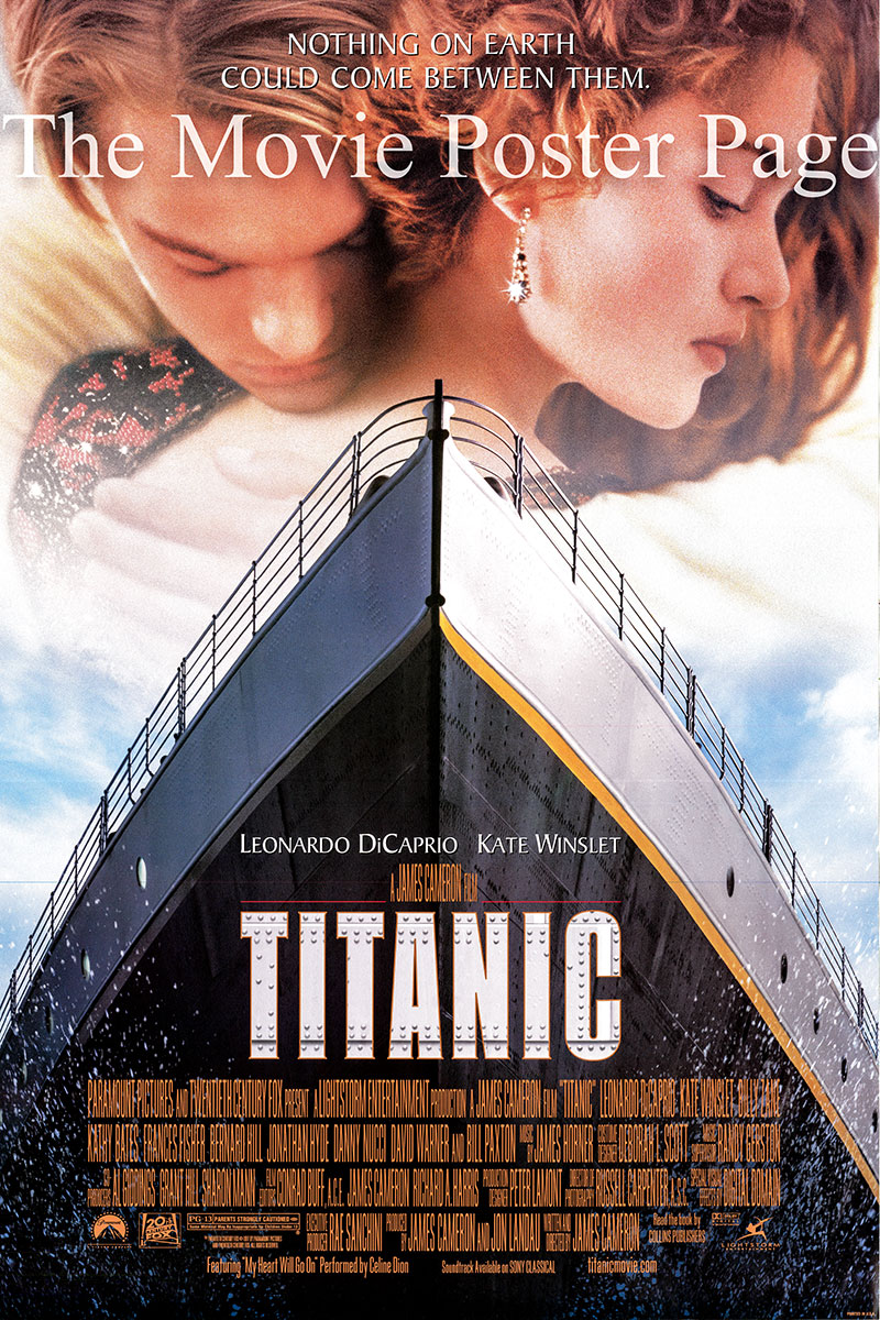 Pictured is the withdrawn Style A promotional poster for the 1997 James Cameron Film Titanic starring Leonardo DiCaprio and Kate Winslet.