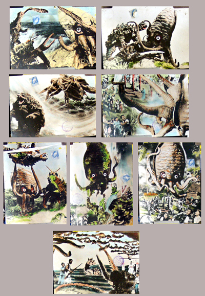 Pictured is a set of 8 Italian color stills from the 1970 Ishiro Honda film Yog Monster from space, starring Akira Kubo.