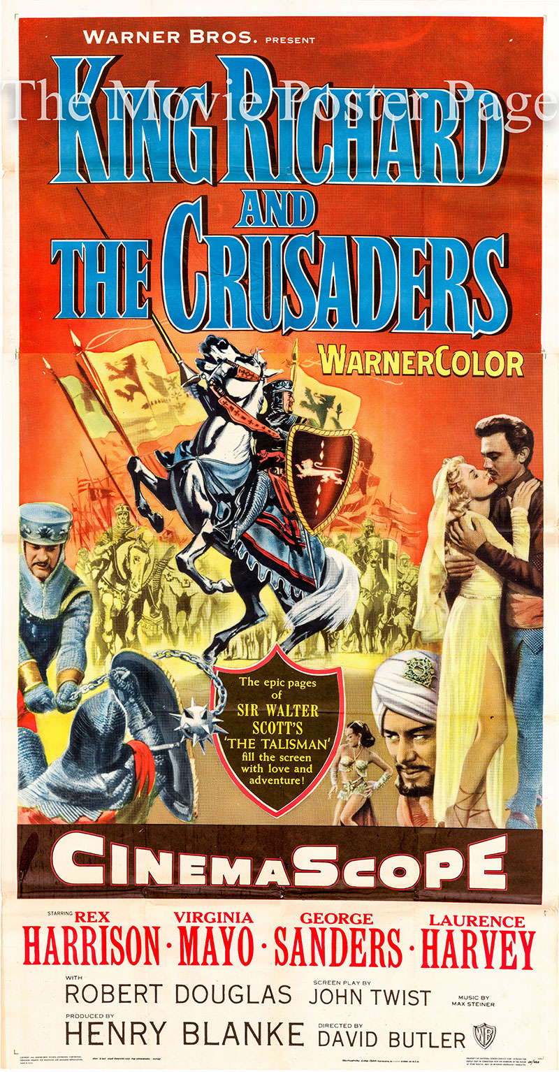 Pictured us the US three-sheet promotional poster for the 1954 david Butler film King Richard and the Crusaders starring Rex Harrison and Virginia Mayo.