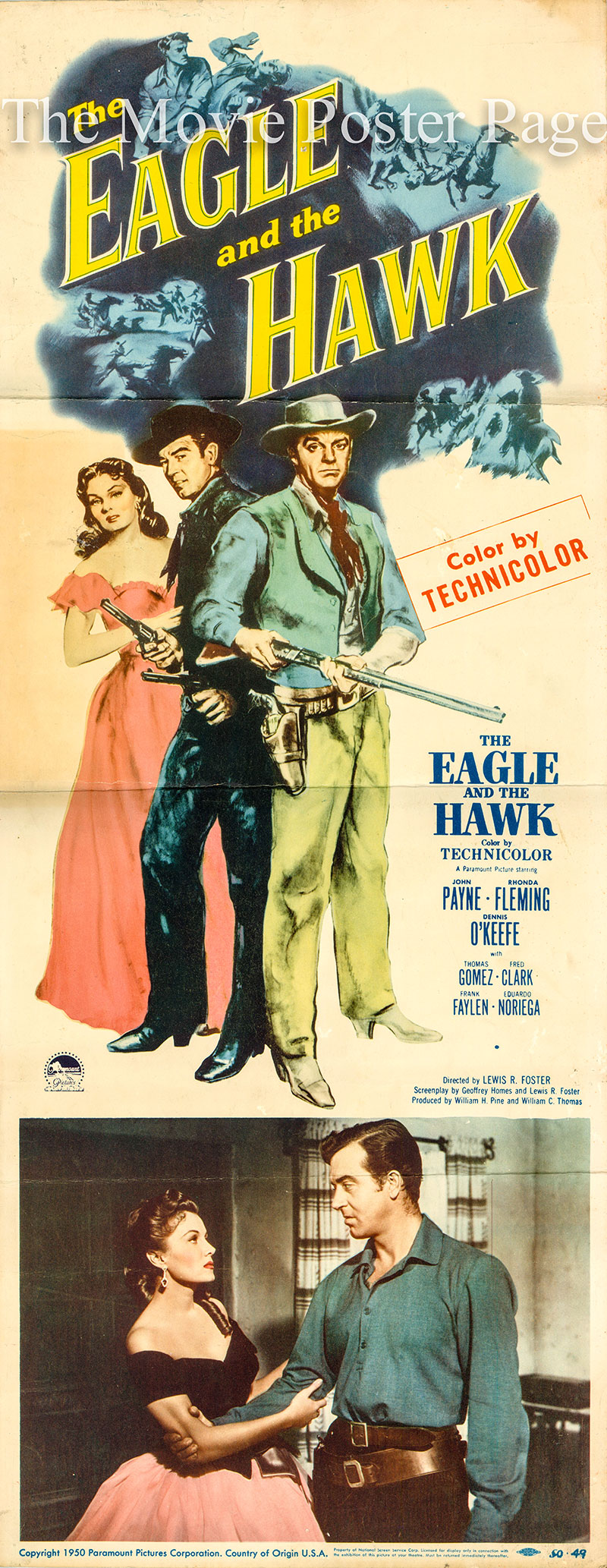Pictured is a US insert promotional poster for the 1950 Lewis R. Foster Film the Eagle and the Hawk starring John Payne and Rhonda Fleming.