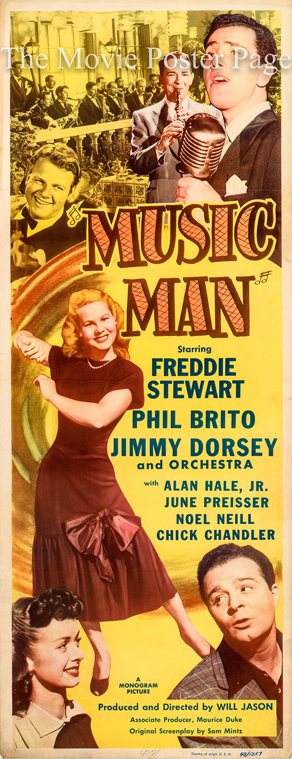 Pictured is a US insert promotional poster for the 1948 Will Jason film Music Man, starring Jimmy Dorsey.