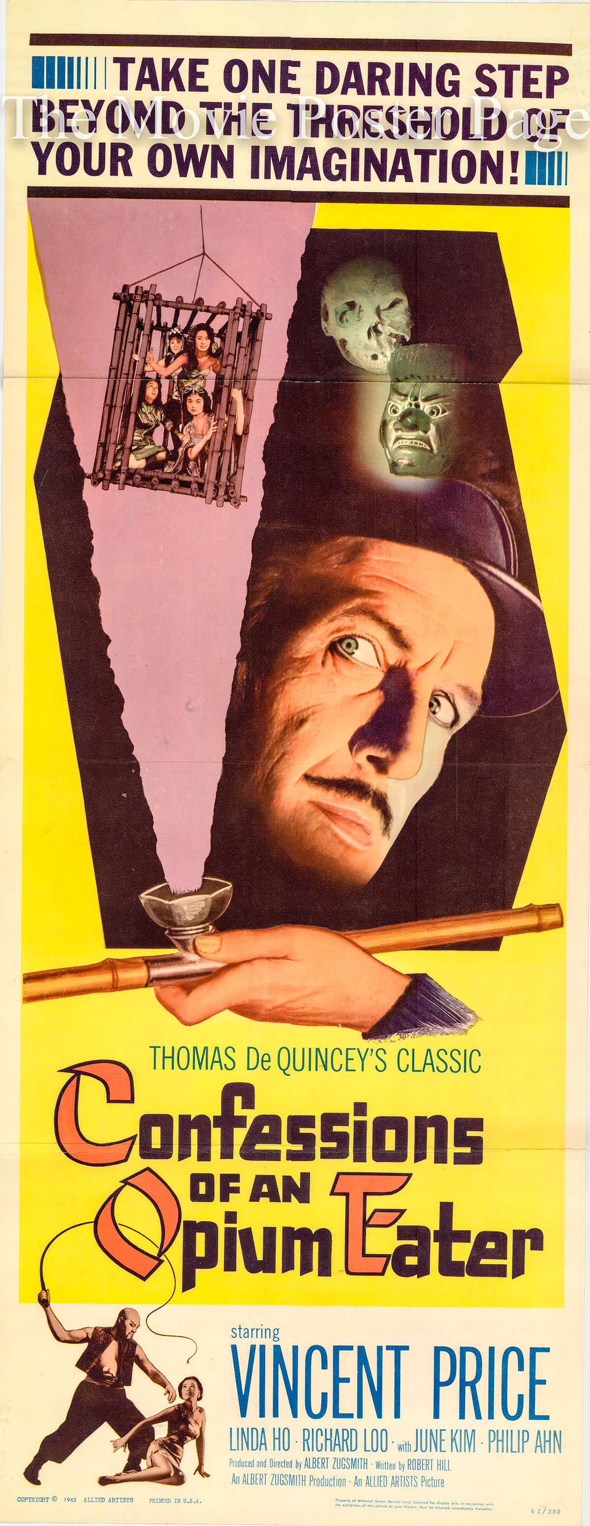 Pictured is the US insert promotional poster for the 1962 Albert Zugsmith film Confessions of an Opium Eater starring Vincent Price.