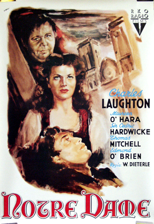Pictured is a reprint of the Italian promotional poster for the 1939 William Dieterle film The Hunchback of Notre Dame, starring Charles Laughton, based on the novel by Victor Hugo.