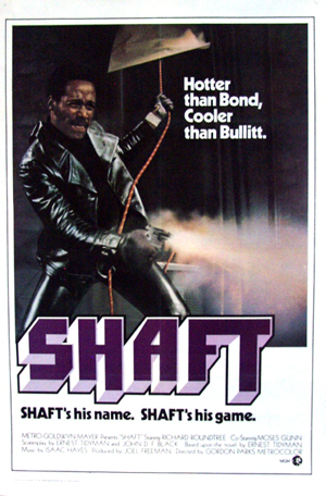 Pictured the the US one-sheet promotional poster for the 1971 Gordon Parks film Shaft starring Richard Roundtree.