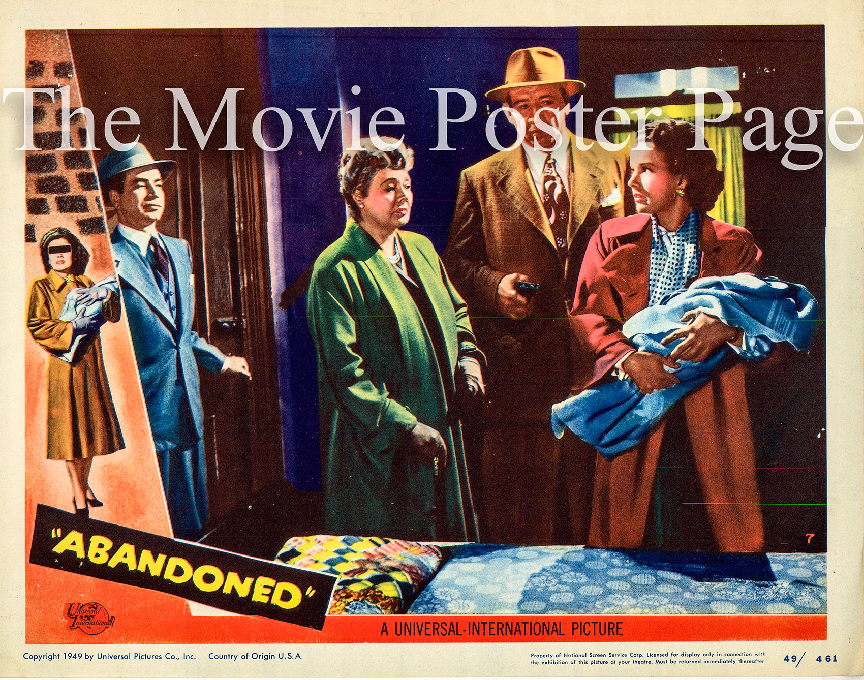 Pictured is the Number 7 US lobby card for the 1949 Joseph M. Newman film Abandoned, starring Gale Storm.