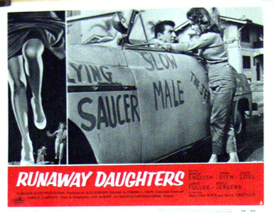 Pictured is the US number 3 lobby card for the 1956 Edward L. Cahn film Runaway Daughters, starring Marla English.