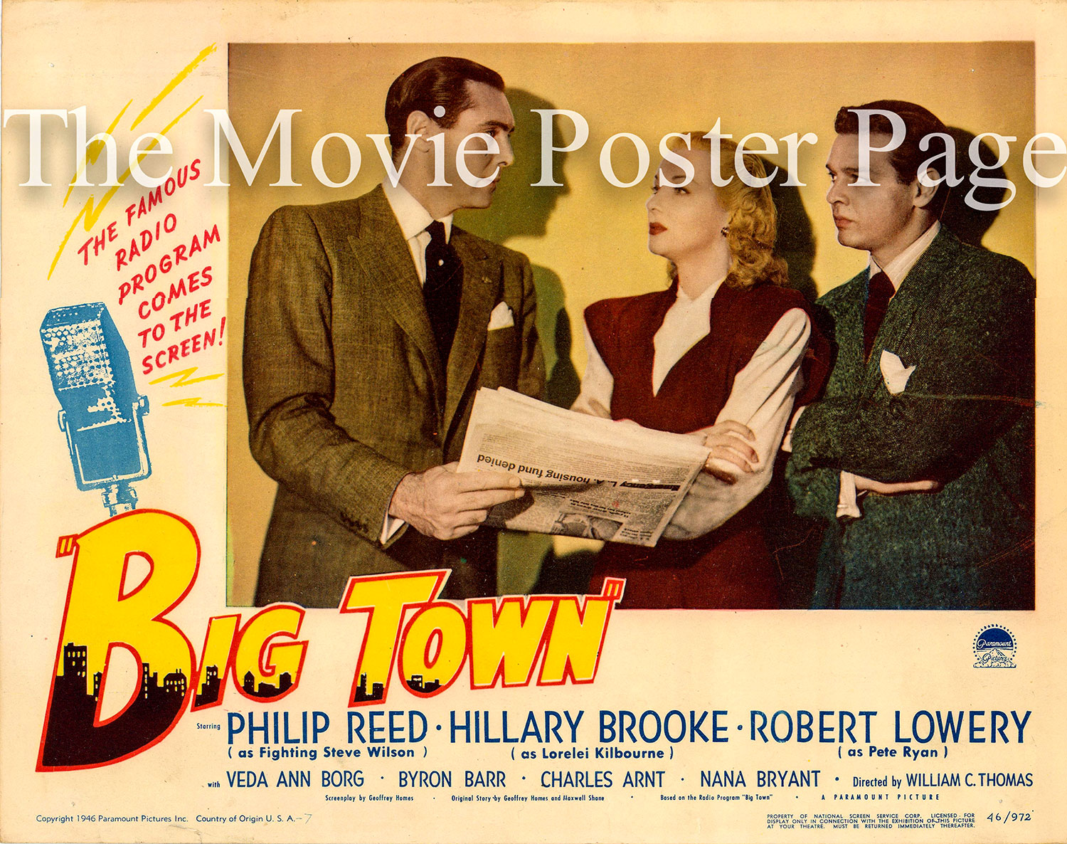 Pictured is the number 7 US lobby card for the 1947 William C. Thomas film Big Town, starring Philip Reed.