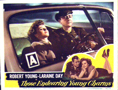 Pictured is an US lobby card for the 1945 Lewis Allen film Those Endearing Young Charms, starring Robert Young.