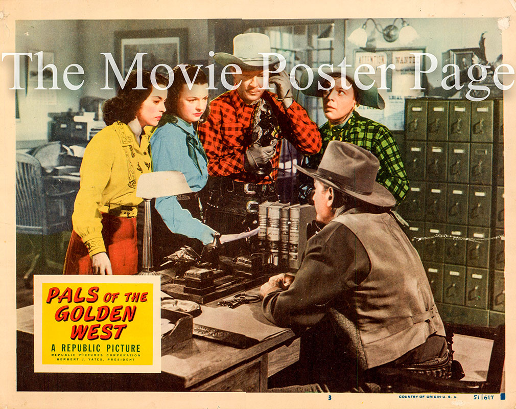Pictured is US lobby card number 3 for the 1951 William Witney film Pals of the Golden West starring Roy Rogers.