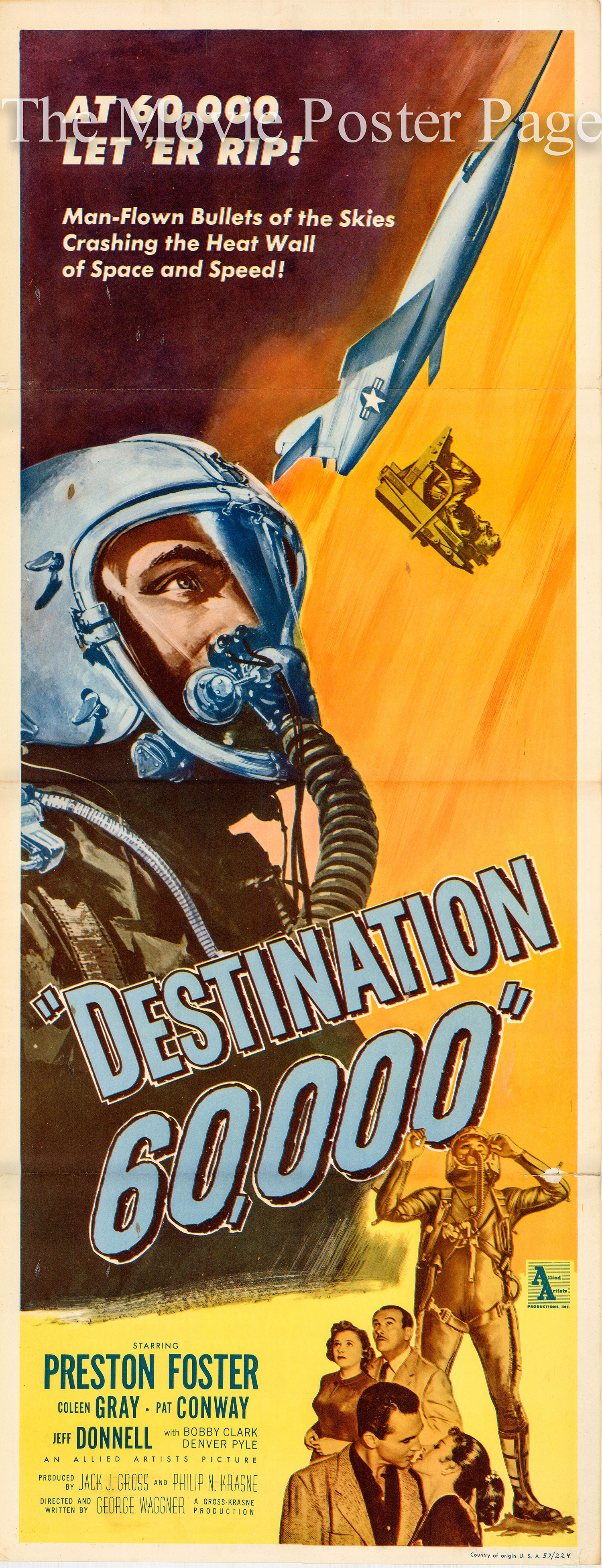 Pictured is a US insert poster fro the 1957 George Waggner film Destination 60,000 starring Preston Foster.