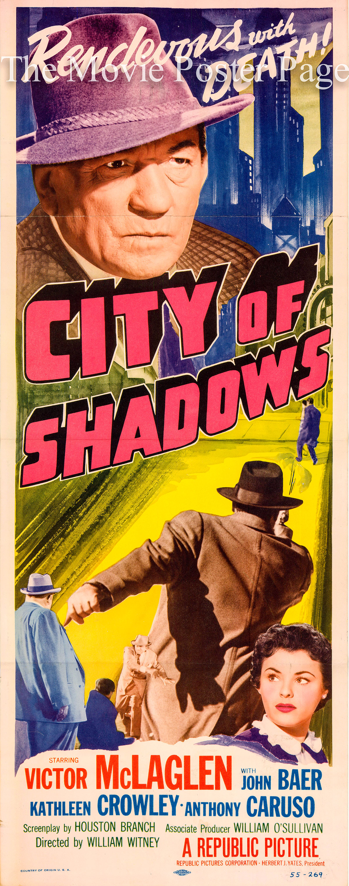 Pictured is the US insert poster for the 1955 William Witney film City of Shadows, starring Victor McLaglen