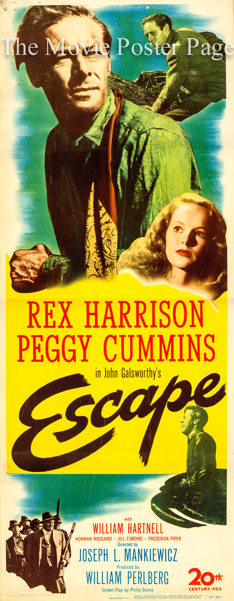 Pictured is the US insert promotional poster for the 1948 Joseph L. Mankiewicz film Escape, based on the play by John Galsworthy and starring Rex Harrison.