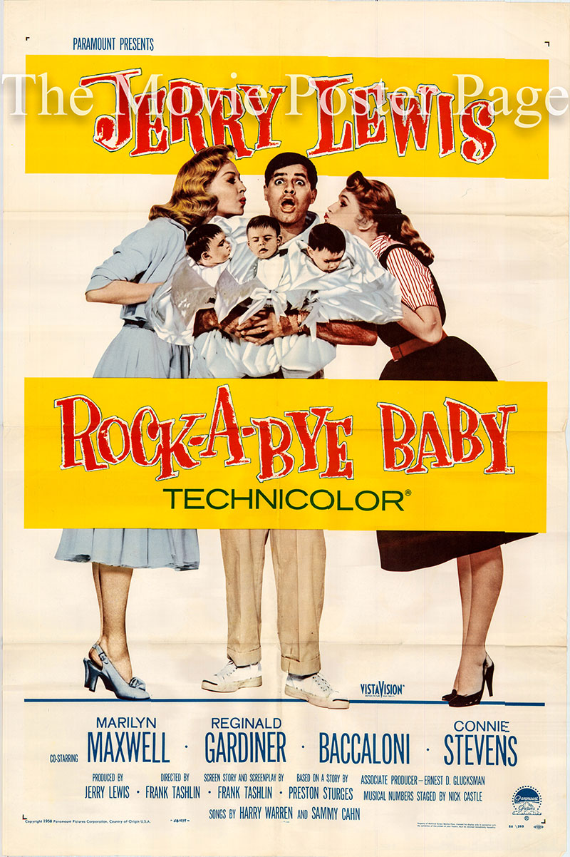 Pictured is a US promotional one-sheet poster for the 1958 Frank Tashlin film Rock-a-Bye Baby starring Jerry Lewis as Clayton Poole.
