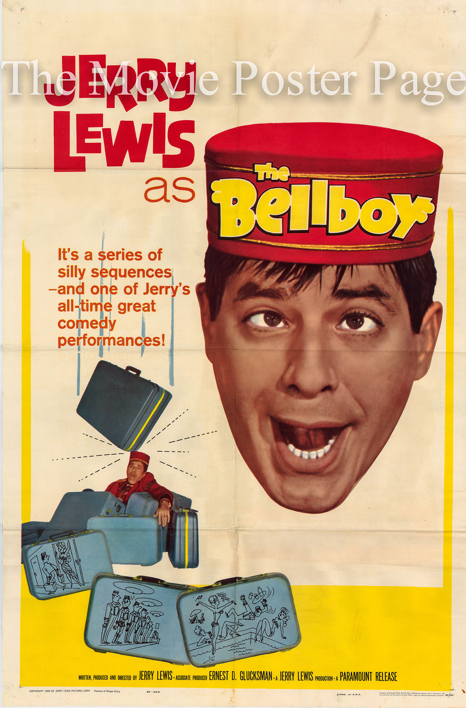 Pictured is a US one-sheet promotional poster for the 1960 Jerry Lewis film The Bellboy, starring Jerry Lewis.