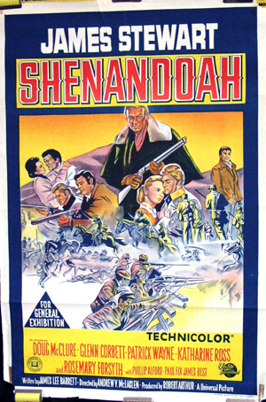 Pictured is the Australian promotional one-sheet poster for the 1965 Andrew V. McLaglen film Shenandoah, starring James Stewart.