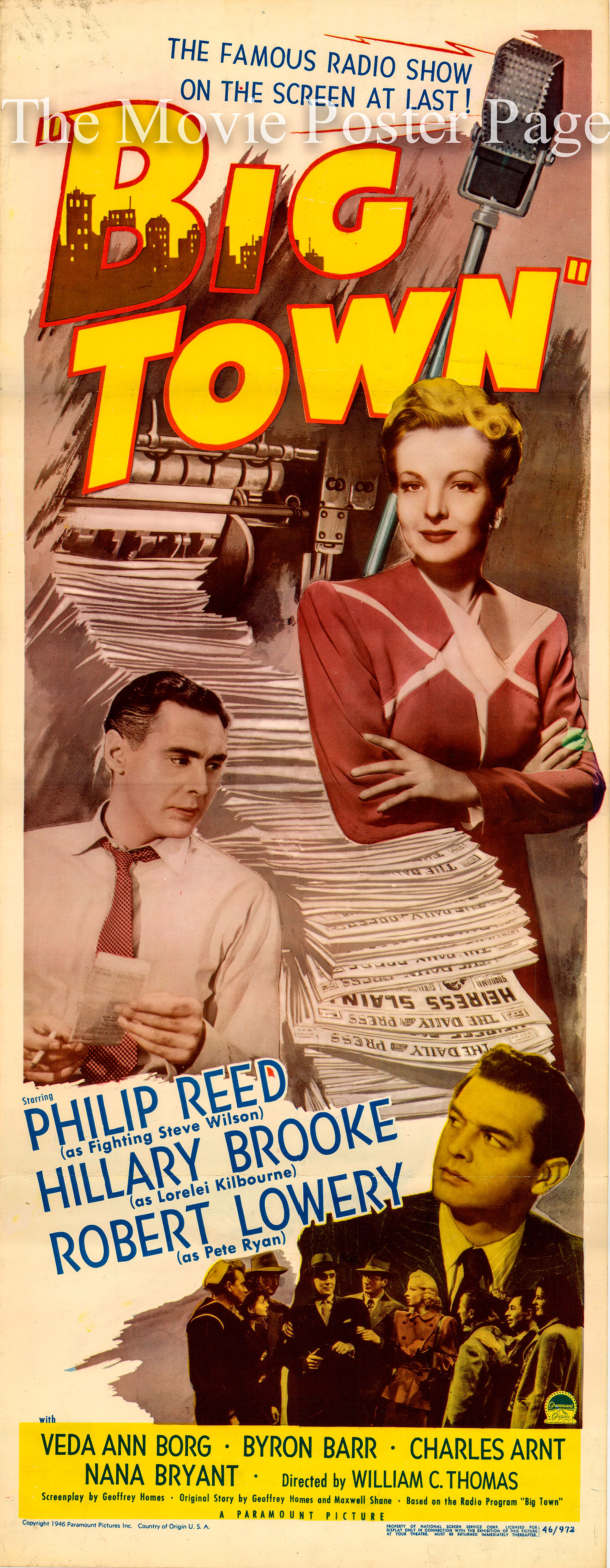 Pictured is a US insert promotional poster for the 1947 William C. Thomas film Big Town starring Phillip Reed.