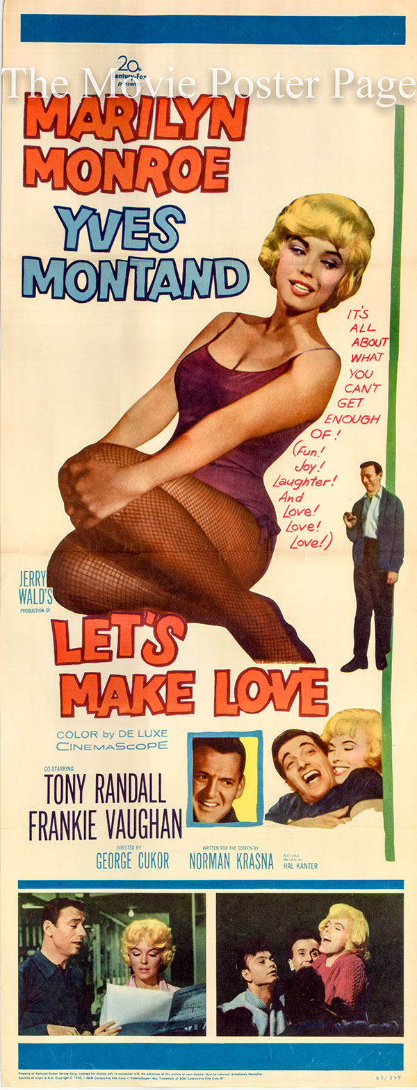 Pictured is the US insert promotional poster for the 1960 George Cukor film Lets Make Love starring Marilyn Monroe.