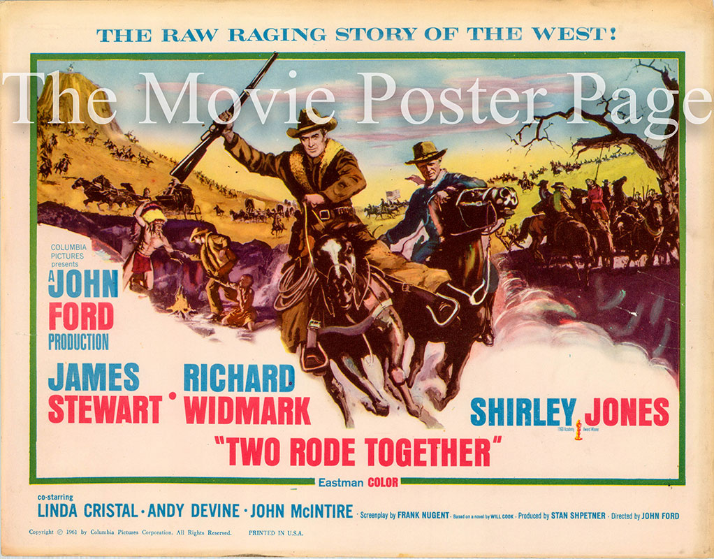 Pictured is the US title card for the 1960 John Ford film Two Rode Together, starring James Stewart and Richard Widmark.