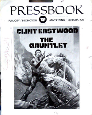 Pictured is a press book for the 1977 Clint Eastwood film The Gauntlet, starring Clint Eastwood.