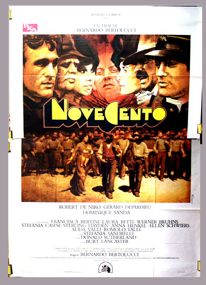 Pictured is the Italian 4-sheet promotional poster for the 1976 Bernardo Bertolucci film Novecento, starring Robert De Niro and Gerard Depardieu.