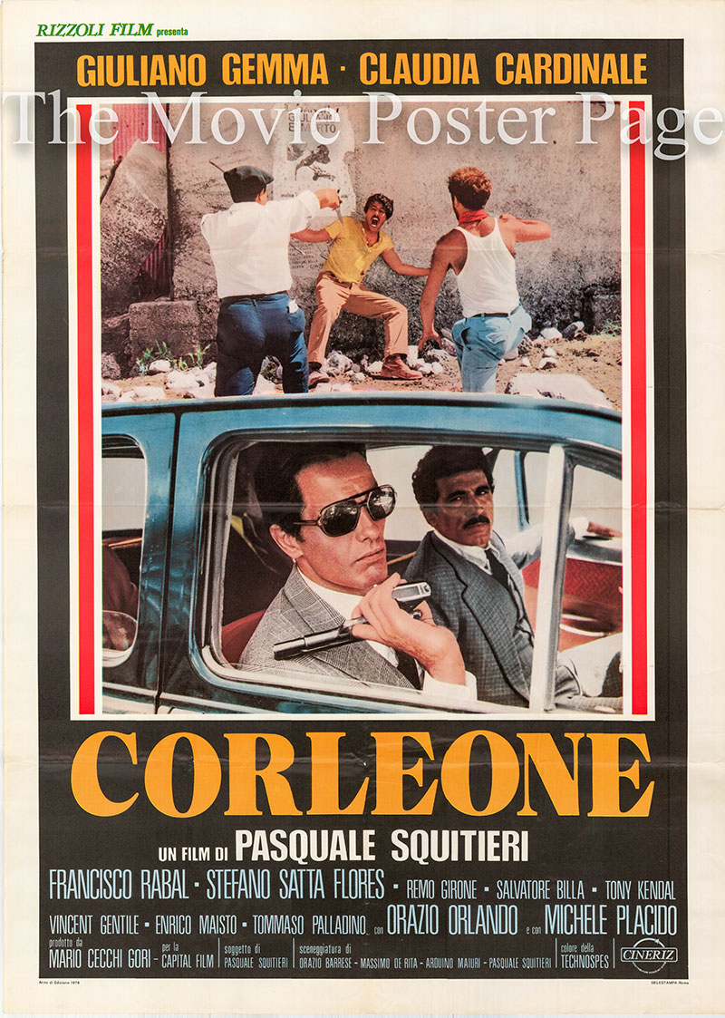 Pictured is an Italian 2-sheet promotional poster for the 1977 Pasqualie Squitieri film Godfather of the Godfathers (Corleone) starring Giuliano Gemma and Claudia Cardinale.