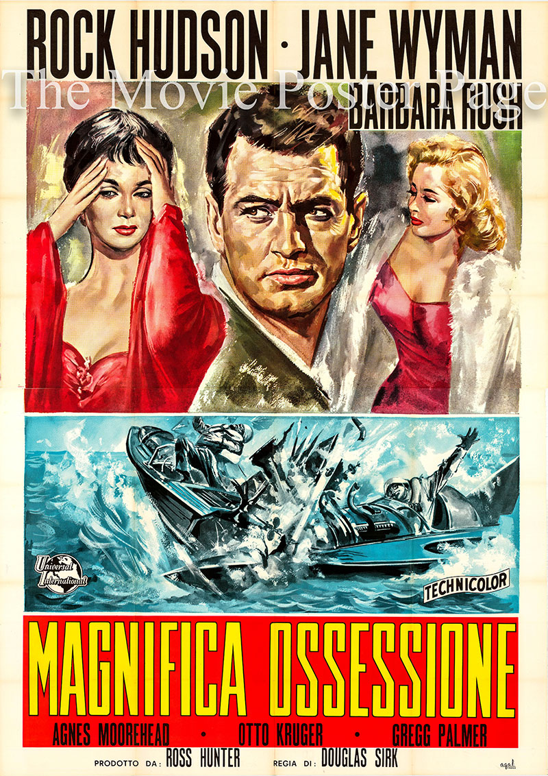 Pictured is an Italian 4-sheet promotional poster for the 1954 Douglas Sirk film Magnificent Obsession, starring Ruck Hudson.