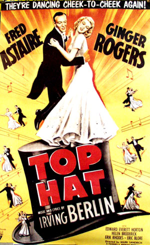 Pictured is a reprint of the promotional one-sheet poster for the 1935 Mark Sandrich film Top Hat, starring Fred Astaire and Ginger Rogers.