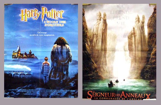 Pictured is a double-sided French combo poster for the films Harry Potter and the Sorcerers Stone and the Lord of the Rings: The Fellowship of the Rings.