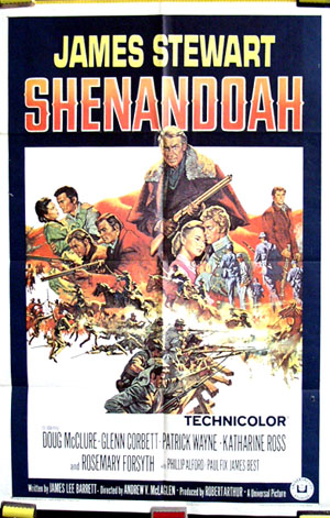 Pictured is the US promotional one-sheet poster for the 1965 Andrew V. McLaglen film Shenandoah, starring James Stewart.
