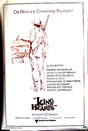 Pictured is the 1978 rerelease promotional poster for the 1966 Philippe de Broca film King of Hearts starring Alan Bates.