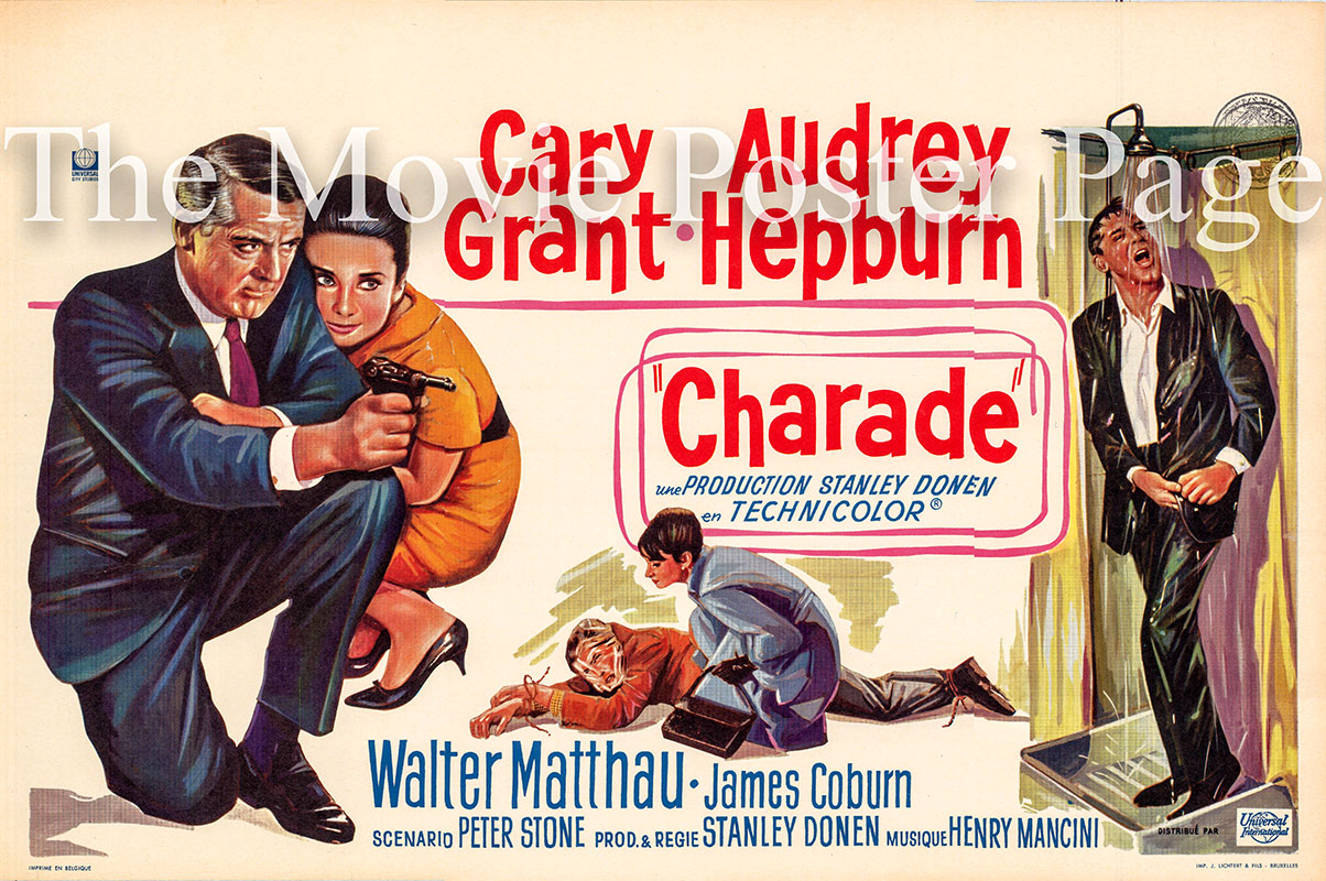 Pictured is a Belgian film poster for the 1963 Stanley Donen film Charade starring Audrey Hepburn and Cary Grant.