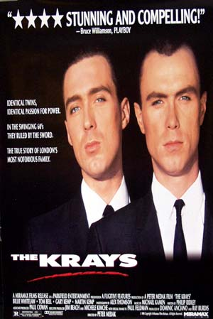 Pictured is the US prmotional one-sheet poster for the 1990 Peter Medak film The Krays starring Billie Whitelaw.