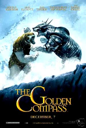 Pictured is the US promotional advance one-sheet for the 2007 Chris Weitz film The Golden Compass, starring Nicole Kidman and Daniel Craig.